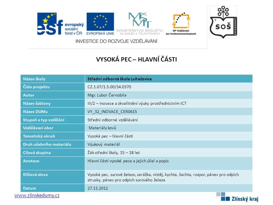 2 Vysoká pec Hlavní části Vysoká pec - hlavní části www.zlinskedumy.cz Vysoká pec je zařízení k výrobě surového železa.