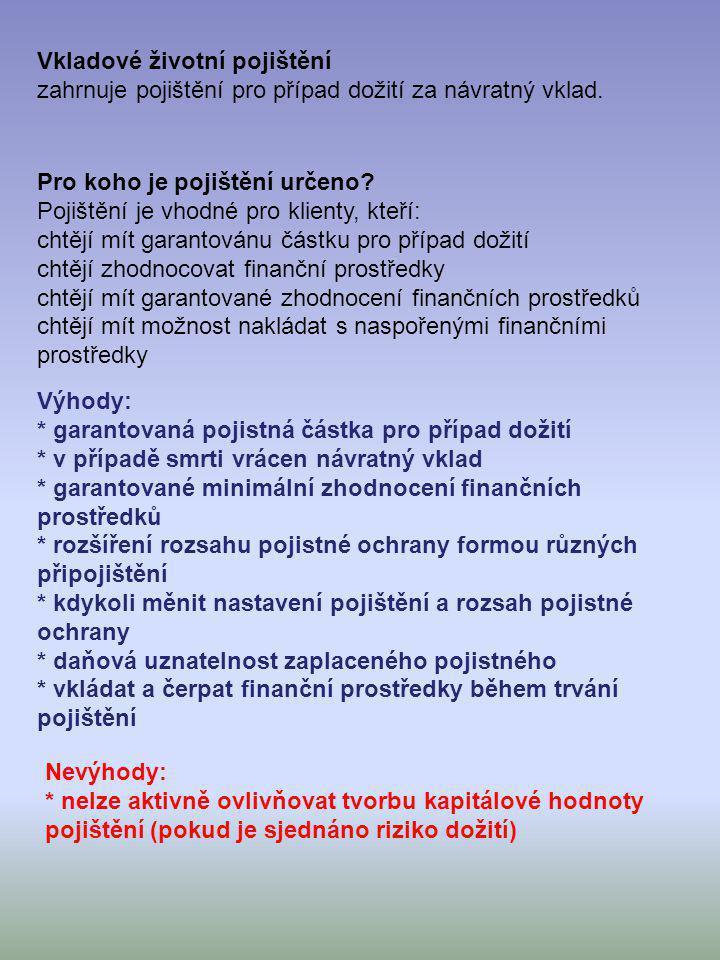Vkladové životní pojištění zahrnuje pojištění pro případ dožití za návratný vklad. Pro koho je pojištění určeno? Pojištění je vhodné pro klienty, kteř