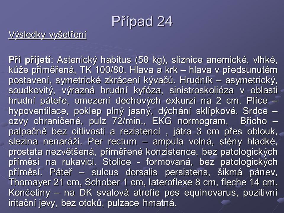 Případ 24 Laboratorní nálezy: FW 78/95, KO: Hb 129, Ery 4,53, Leu 9,5, Trom 570, dif.