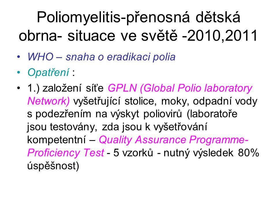 Poliomyelitis-přenosná dětská obrna- situace ve světě -2010,2011 WHO – snaha o eradikaci polia Opatření : 1.) založení síťe GPLN (Global Polio laborat