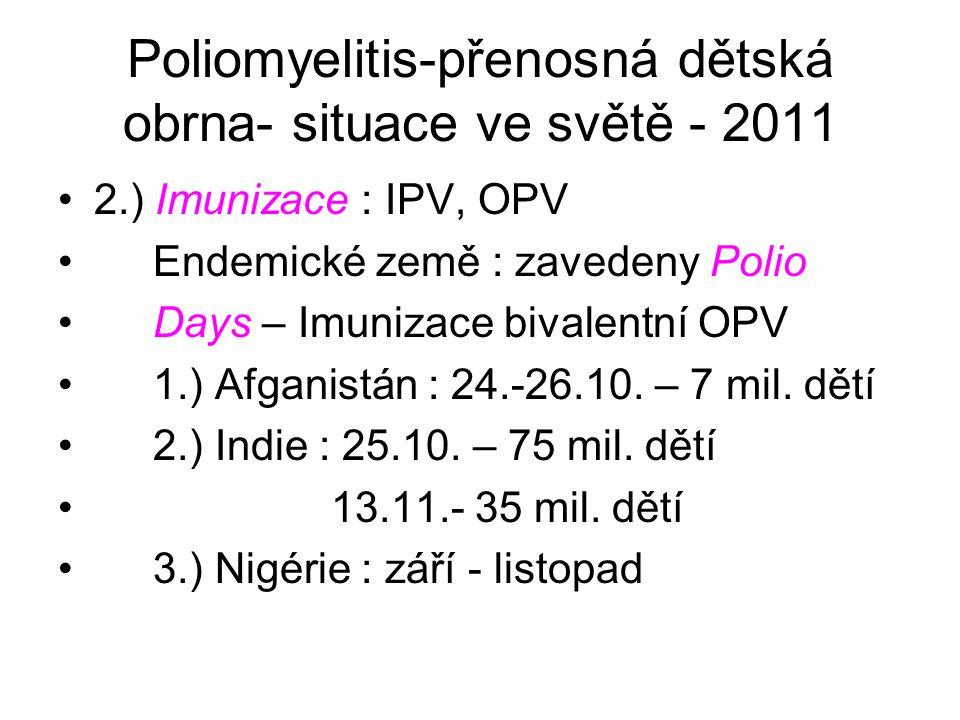 Poliomyelitis-přenosná dětská obrna- situace ve světě - 2011 2.) Imunizace : IPV, OPV Endemické země : zavedeny Polio Days – Imunizace bivalentní OPV