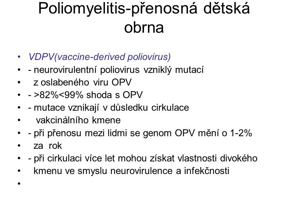 Poliomyelitis-přenosná dětská obrna VDPV(vaccine-derived poliovirus) - neurovirulentní poliovirus vzniklý mutací z oslabeného viru OPV - >82%<99% shod