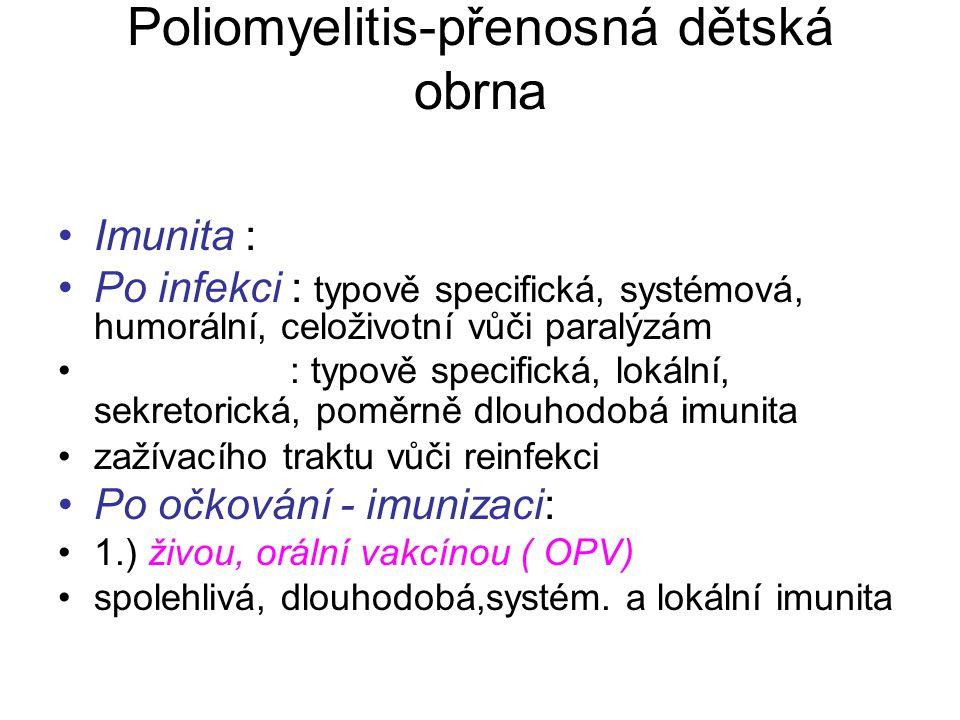 Poliomyelitis-přenosná dětská obrna Imunita : Po infekci : typově specifická, systémová, humorální, celoživotní vůči paralýzám : typově specifická, lo