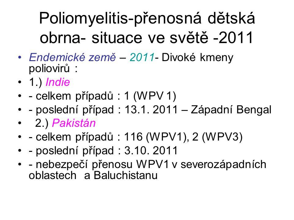 Poliomyelitis-přenosná dětská obrna- situace ve světě -2011 Endemické země – 2011- Divoké kmeny poliovirů : 1.) Indie - celkem případů : 1 (WPV 1) - p