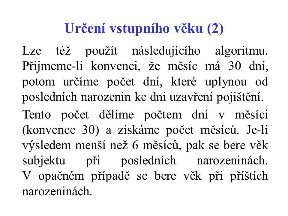 Určení vstupního věku (2) Lze též použít následujícího algoritmu.