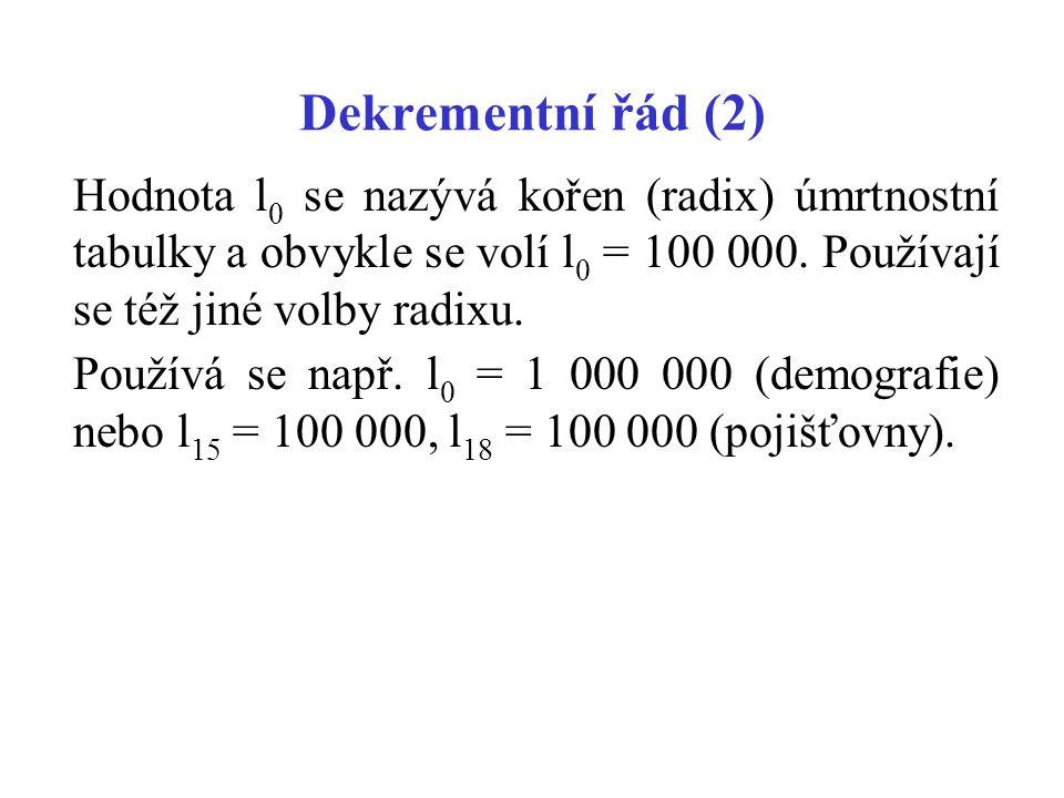 Dekrementní řád (2) Hodnota l 0 se nazývá kořen (radix) úmrtnostní tabulky a obvykle se volí l 0 = 100 000. Používají se též jiné volby radixu. Použív