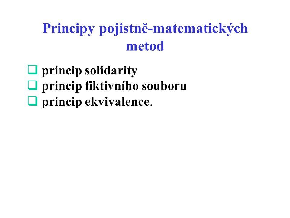 Principy pojistně-matematických metod  princip solidarity  princip fiktivního souboru  princip ekvivalence.