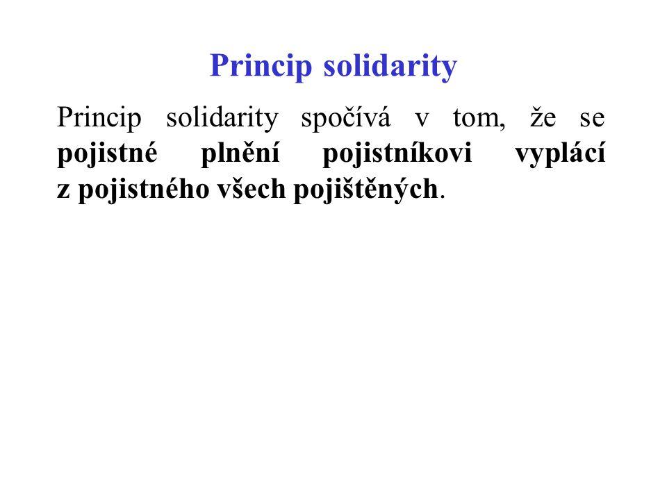 Princip solidarity Princip solidarity spočívá v tom, že se pojistné plnění pojistníkovi vyplácí z pojistného všech pojištěných.