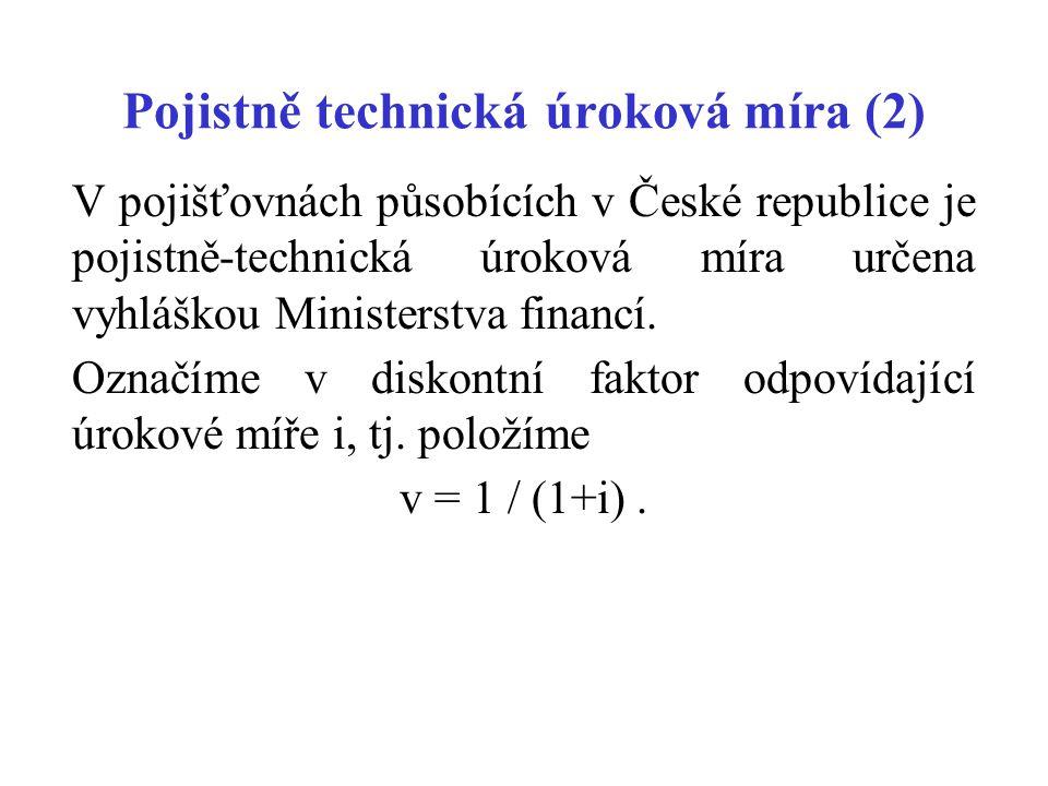 Pojistně technická úroková míra (2) V pojišťovnách působících v České republice je pojistně-technická úroková míra určena vyhláškou Ministerstva finan