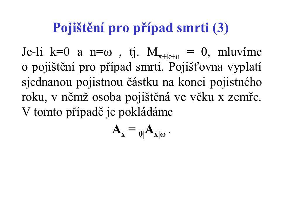 Pojištění pro případ smrti (3) Je-li k=0 a n= , tj.
