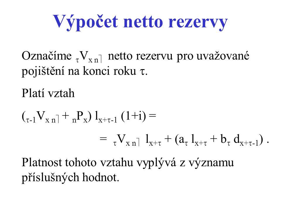 Výpočet netto rezervy Označíme  V x n  netto rezervu pro uvažované pojištění na konci roku . Platí vztah (  -1 V x n  + n P x ) l x+  -1 (1+i) =
