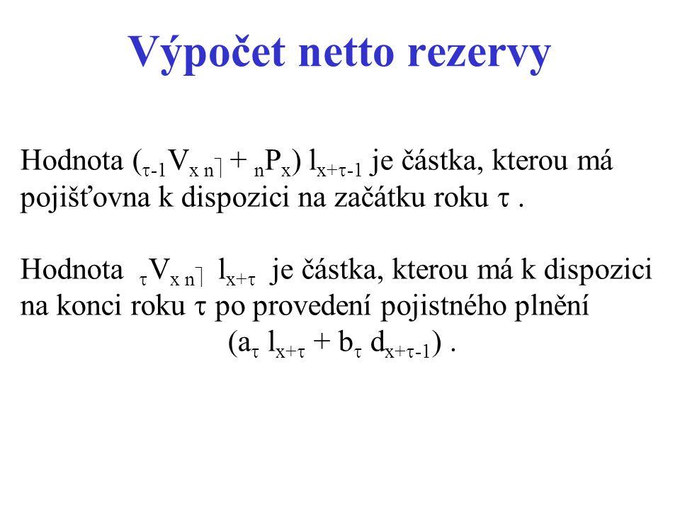 Výpočet netto rezervy Hodnota (  -1 V x n  + n P x ) l x+  -1 je částka, kterou má pojišťovna k dispozici na začátku roku . Hodnota  V x n  l x+