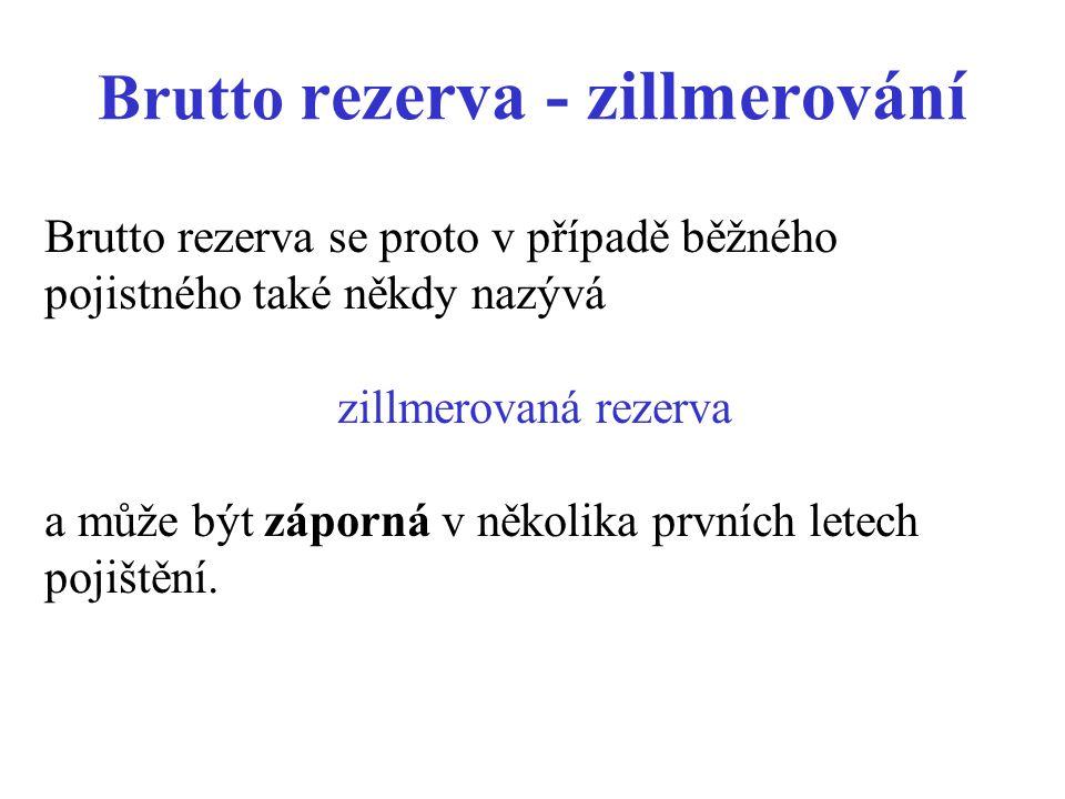 Brutto rezerva - zillmerování Brutto rezerva se proto v případě běžného pojistného také někdy nazývá zillmerovaná rezerva a může být záporná v několika prvních letech pojištění.