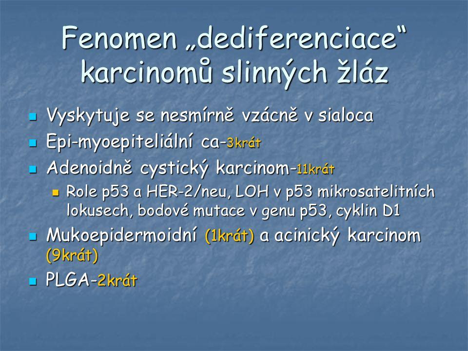 """Fenomen """"dediferenciace"""" karcinomů slinných žláz Vyskytuje se nesmírně vzácně v sialoca Vyskytuje se nesmírně vzácně v sialoca Epi-myoepiteliální ca-"""