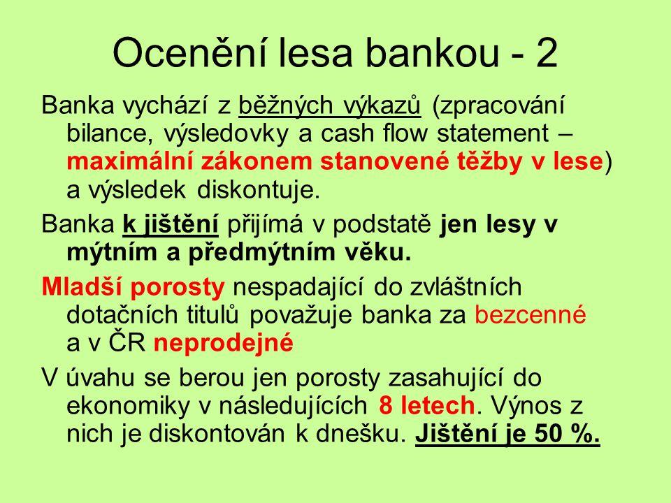 Ocenění lesa bankou - 2 Banka vychází z běžných výkazů (zpracování bilance, výsledovky a cash flow statement – maximální zákonem stanovené těžby v les