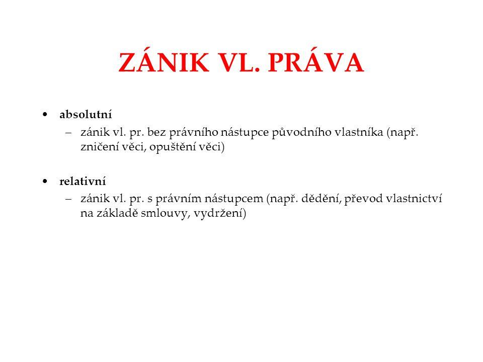 ZÁNIK VL. PRÁVA absolutní –zánik vl. pr. bez právního nástupce původního vlastníka (např. zničení věci, opuštění věci) relativní –zánik vl. pr. s práv