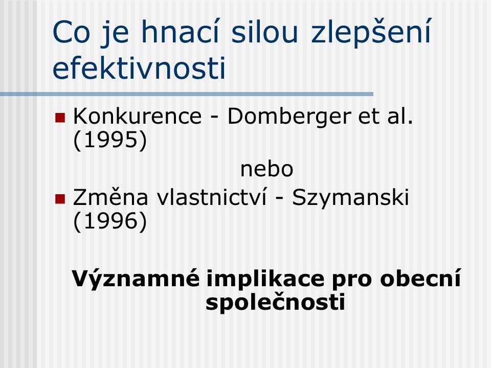 Co je hnací silou zlepšení efektivnosti Konkurence - Domberger et al. (1995) nebo Změna vlastnictví - Szymanski (1996) Významné implikace pro obecní s