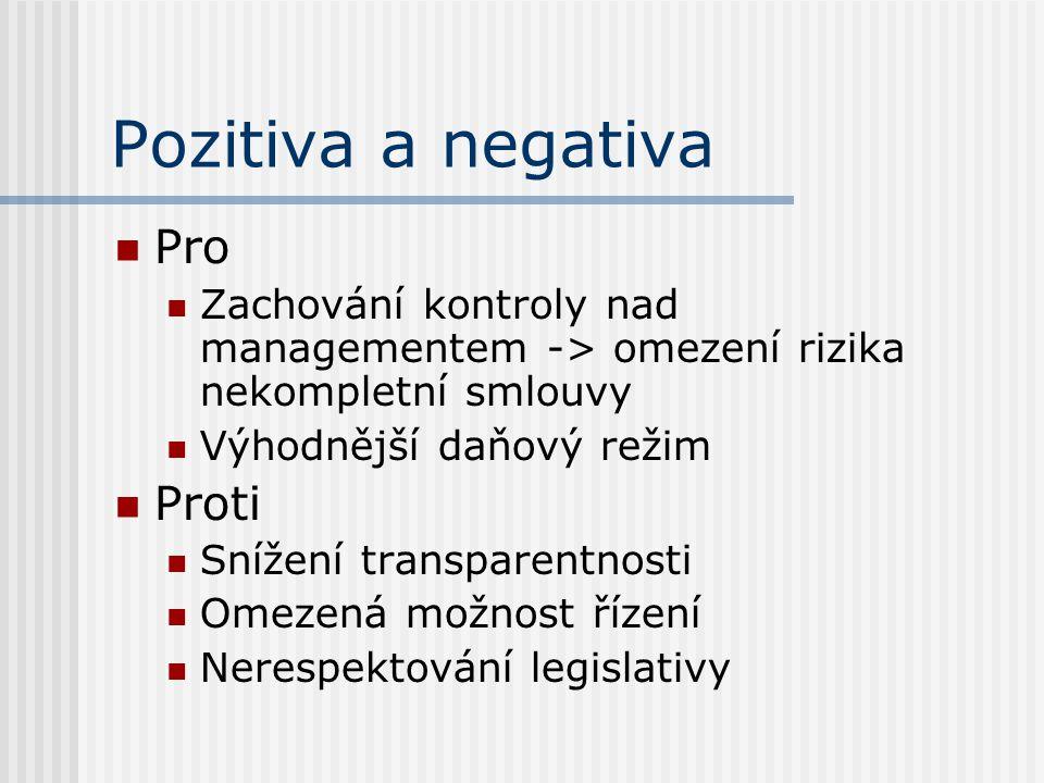 Pozitiva a negativa Pro Zachování kontroly nad managementem -> omezení rizika nekompletní smlouvy Výhodnější daňový režim Proti Snížení transparentnos