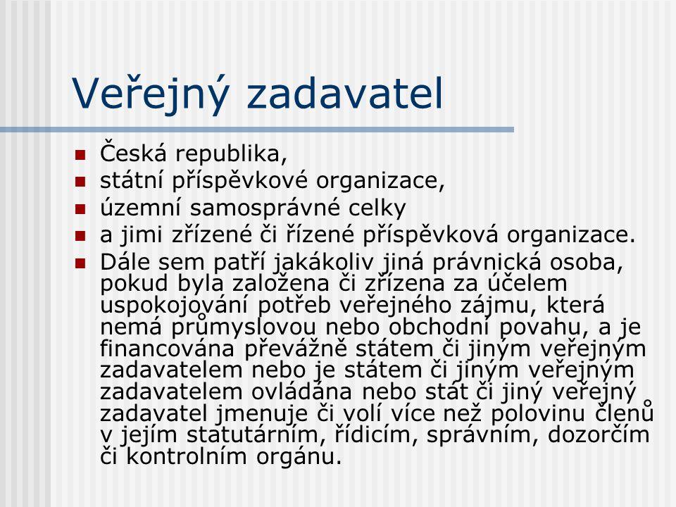 Veřejný zadavatel Česká republika, státní příspěvkové organizace, územní samosprávné celky a jimi zřízené či řízené příspěvková organizace. Dále sem p