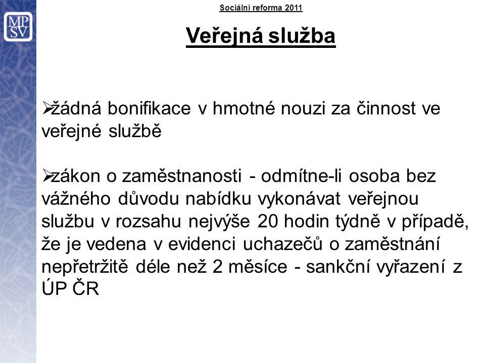 Sociální reforma 2011 Veřejná služba  žádná bonifikace v hmotné nouzi za činnost ve veřejné službě  zákon o zaměstnanosti - odmítne-li osoba bez vážného důvodu nabídku vykonávat veřejnou službu v rozsahu nejvýše 20 hodin týdně v případě, že je vedena v evidenci uchazečů o zaměstnání nepřetržitě déle než 2 měsíce - sankční vyřazení z ÚP ČR