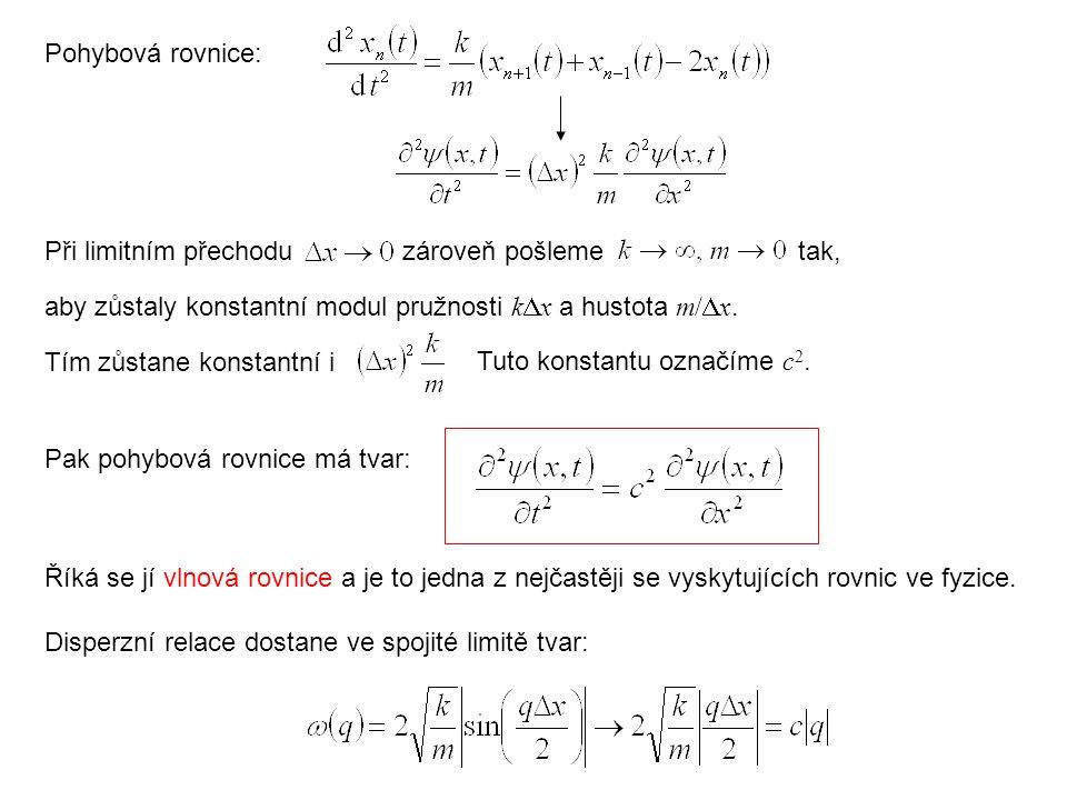 Pohybová rovnice: Při limitním přechoduzároveň pošleme Tím zůstane konstantní i Tuto konstantu označíme c 2. Pak pohybová rovnice má tvar: Říká se jí