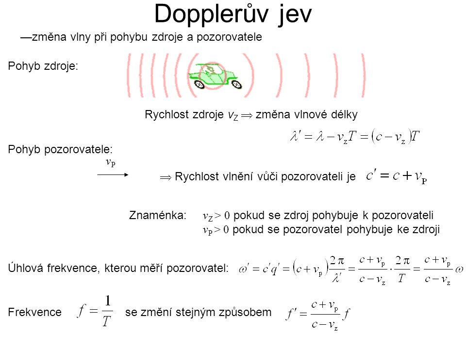 —změna vlny při pohybu zdroje a pozorovatele Rychlost zdroje v Z  změna vlnové délky Pohyb pozorovatele: vPvP Dopplerův jev  Rychlost vlnění vůči pozorovateli je v Z > 0 pokud se zdroj pohybuje k pozorovateli v P > 0 pokud se pozorovatel pohybuje ke zdroji Úhlová frekvence, kterou měří pozorovatel: Frekvencese změní stejným způsobem Znaménka: Pohyb zdroje: