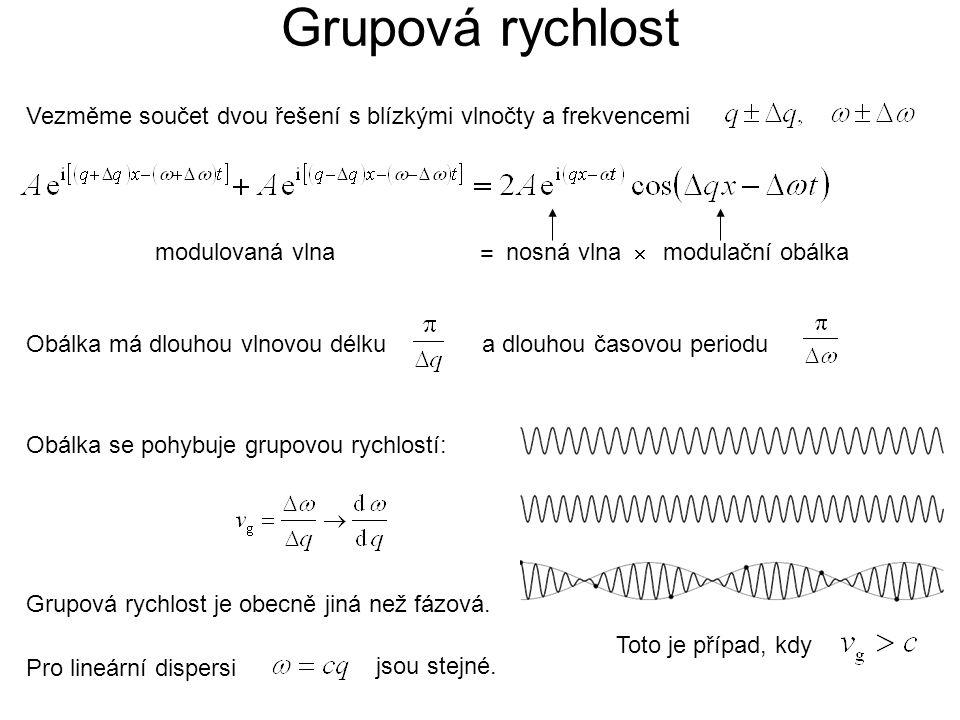 Vezměme součet dvou řešení s blízkými vlnočty a frekvencemi modulovaná vlna Obálka se pohybuje grupovou rychlostí: Grupová rychlost je obecně jiná než fázová.