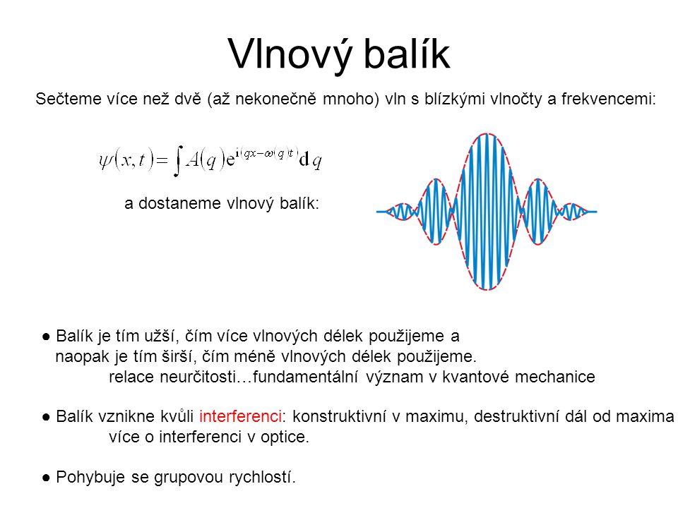Sečteme více než dvě (až nekonečně mnoho) vln s blízkými vlnočty a frekvencemi: ● Balík je tím užší, čím více vlnových délek použijeme a naopak je tím