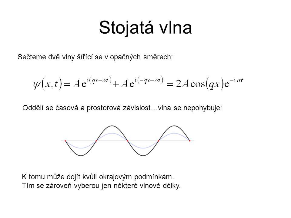 Sečteme dvě vlny šířící se v opačných směrech: Oddělí se časová a prostorová závislost…vlna se nepohybuje: Stojatá vlna K tomu může dojít kvůli okrajovým podmínkám.