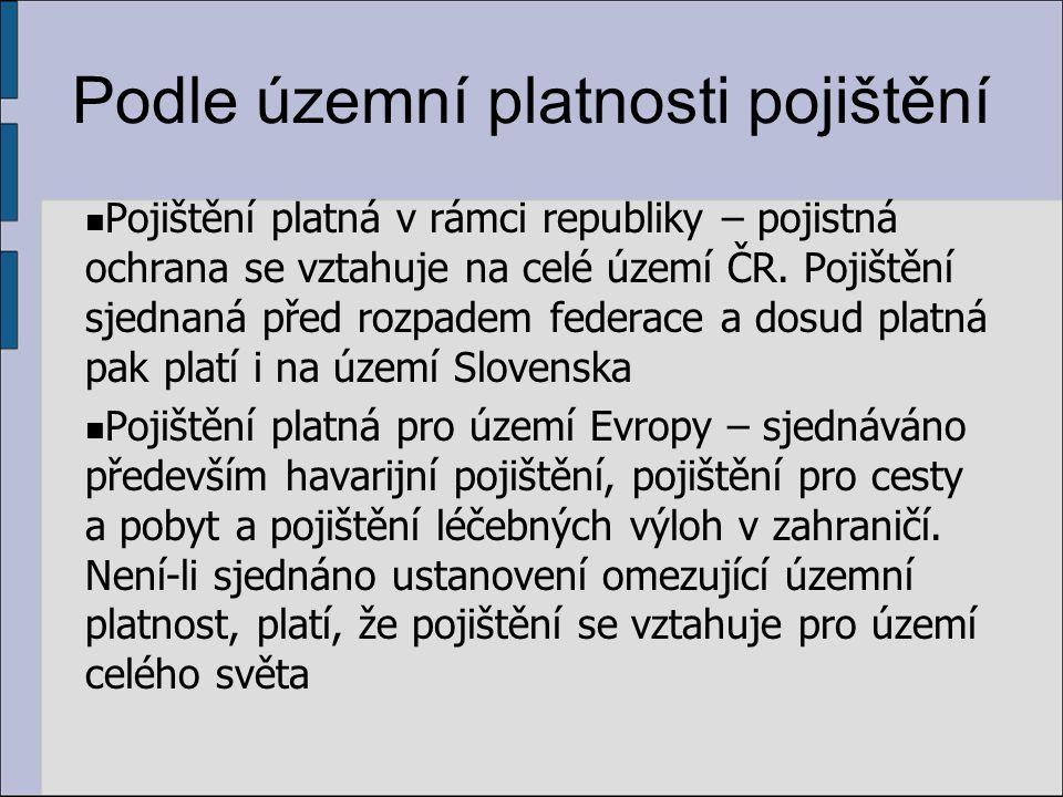 Podle územní platnosti pojištění Pojištění platná v rámci republiky – pojistná ochrana se vztahuje na celé území ČR.
