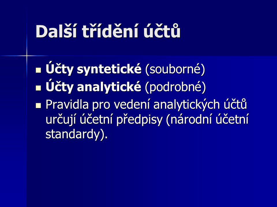 Další třídění účtů Účty syntetické (souborné) Účty syntetické (souborné) Účty analytické (podrobné) Účty analytické (podrobné) Pravidla pro vedení ana