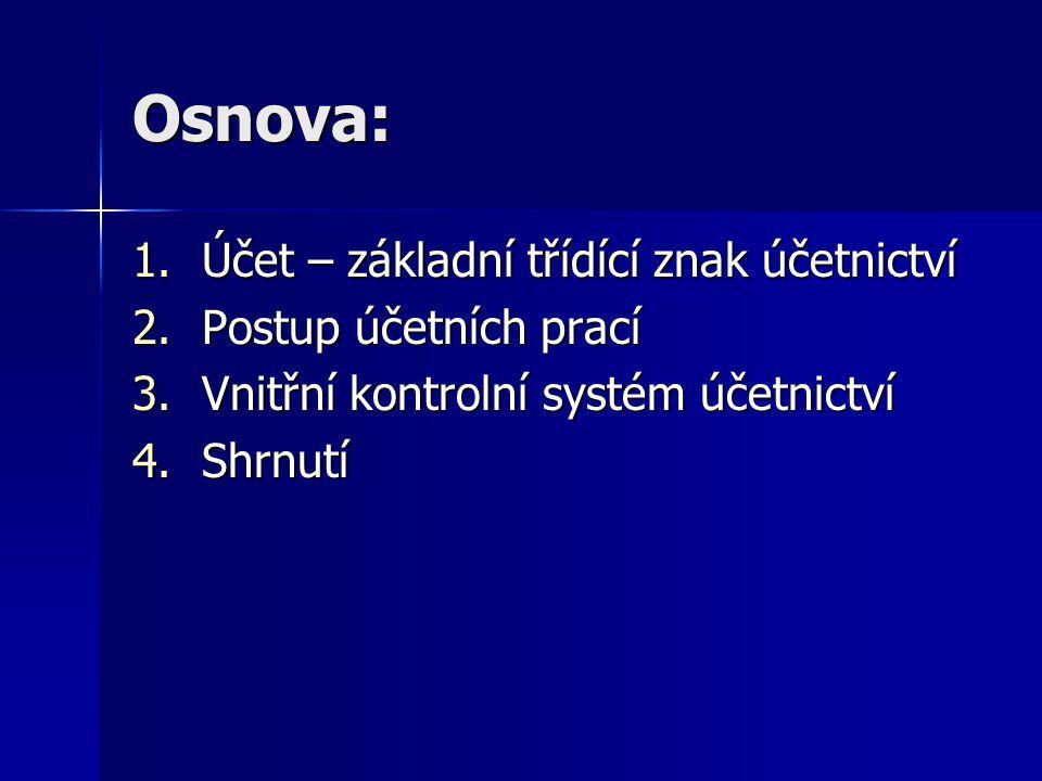 Osnova: 1.Účet – základní třídící znak účetnictví 2.Postup účetních prací 3.Vnitřní kontrolní systém účetnictví 4.Shrnutí