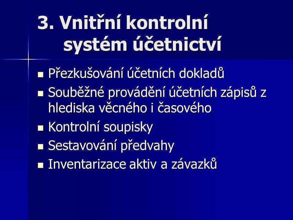 3. Vnitřní kontrolní systém účetnictví Přezkušování účetních dokladů Přezkušování účetních dokladů Souběžné provádění účetních zápisů z hlediska věcné
