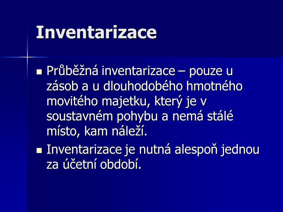 Inventarizace Průběžná inventarizace – pouze u zásob a u dlouhodobého hmotného movitého majetku, který je v soustavném pohybu a nemá stálé místo, kam náleží.