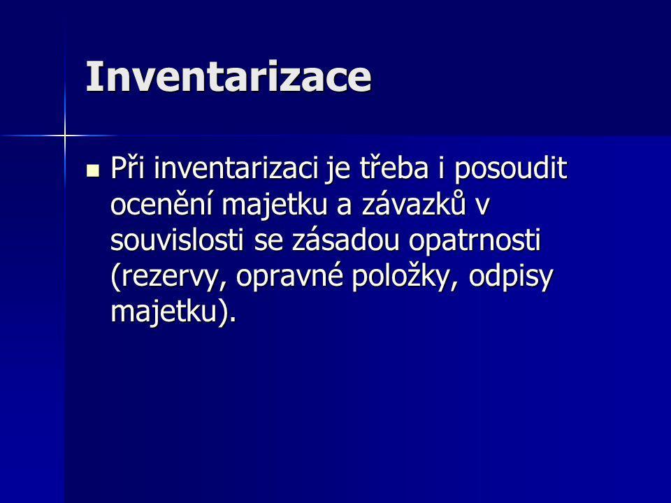 Inventarizace Při inventarizaci je třeba i posoudit ocenění majetku a závazků v souvislosti se zásadou opatrnosti (rezervy, opravné položky, odpisy majetku).