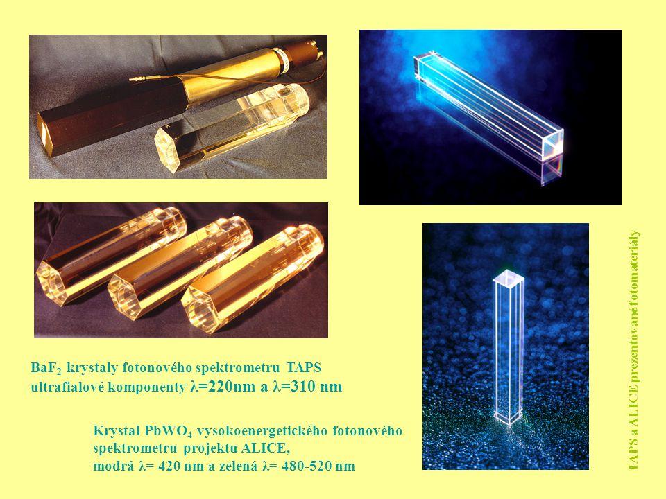 Krystal PbWO 4 vysokoenergetického fotonového spektrometru projektu ALICE, modrá λ= 420 nm a zelená λ= 480-520 nm BaF 2 krystaly fotonového spektromet