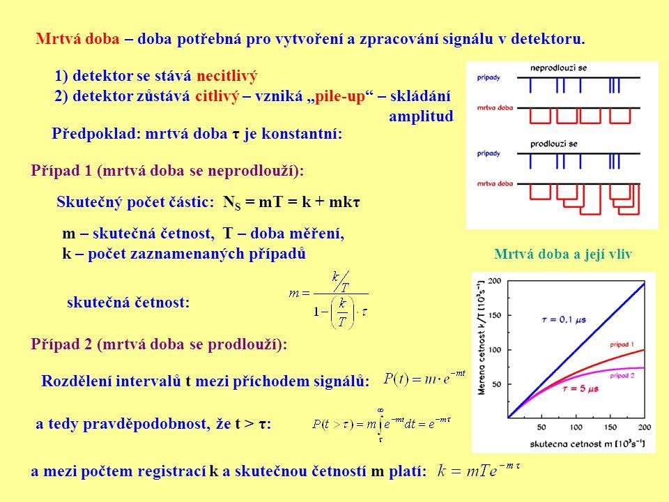 """1) detektor se stává necitlivý 2) detektor zůstává citlivý – vzniká """"pile-up"""" – skládání amplitud Mrtvá doba – doba potřebná pro vytvoření a zpracován"""