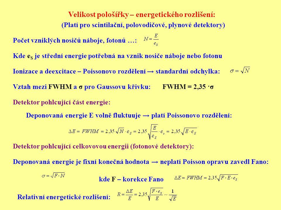Detektor pohlcující část energie: Detektor pohlcující celkovovou energii (fotonové detektory): Ionizace a deexcitace – Poissonovo rozdělení → standard