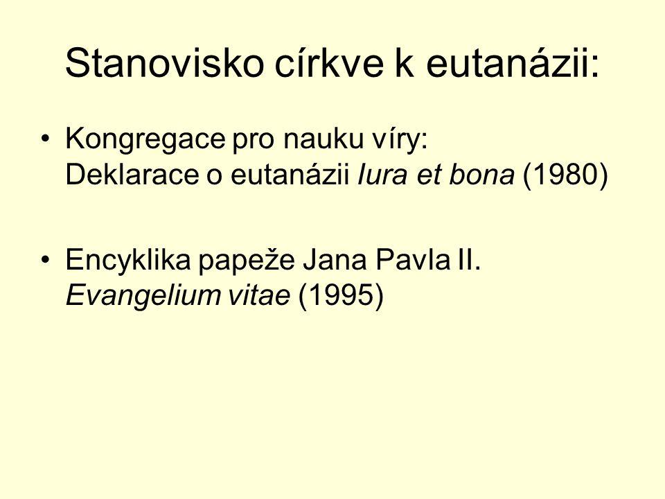 Stanovisko církve k eutanázii: Kongregace pro nauku víry: Deklarace o eutanázii Iura et bona (1980) Encyklika papeže Jana Pavla II. Evangelium vitae (