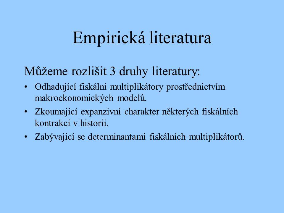 Empirická literatura Můžeme rozlišit 3 druhy literatury: Odhadující fiskální multiplikátory prostřednictvím makroekonomických modelů. Zkoumající expan