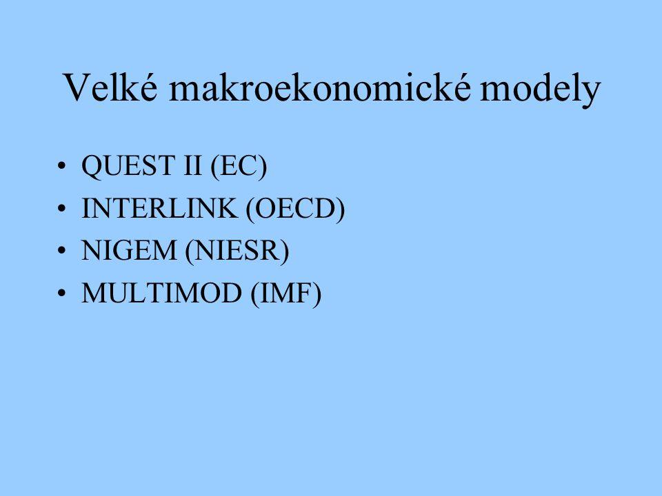 Velké makroekonomické modely QUEST II (EC) INTERLINK (OECD) NIGEM (NIESR) MULTIMOD (IMF)