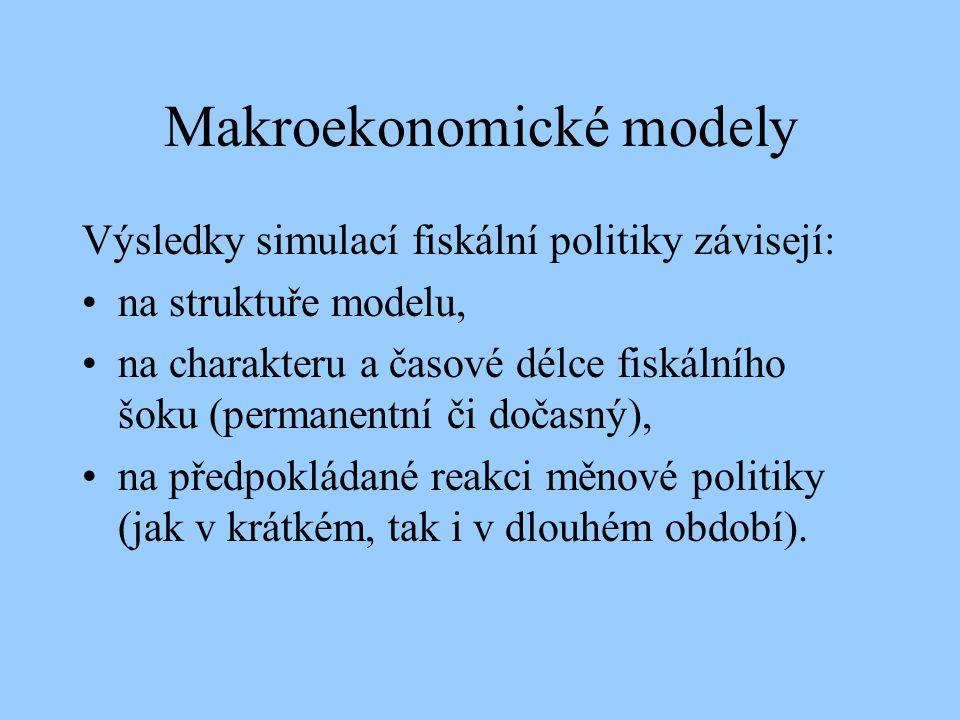 Makroekonomické modely Výsledky simulací fiskální politiky závisejí: na struktuře modelu, na charakteru a časové délce fiskálního šoku (permanentní či