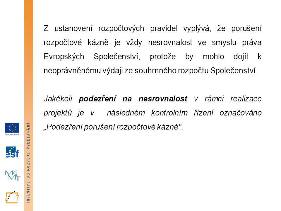 INVESTICE DO ROZVOJE VZDĚLÁVÁNÍ NESROVNALOST DEFINICE (Příručka pro nesrovnalosti, verze 9, platná od 13.