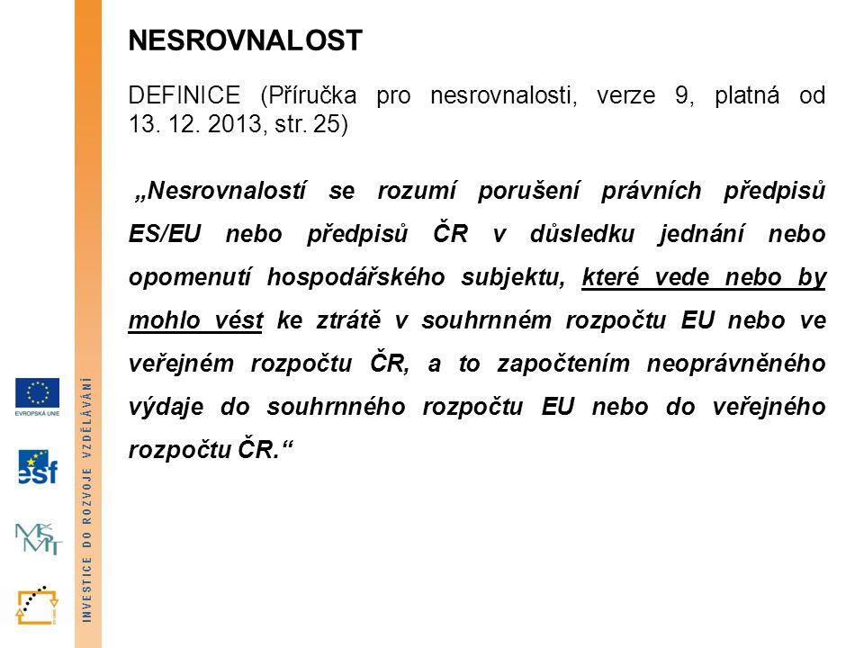 """INVESTICE DO ROZVOJE VZDĚLÁVÁNÍ NESROVNALOST DEFINICE (Příručka pro nesrovnalosti, verze 9, platná od 13. 12. 2013, str. 25) """"Nesrovnalostí se rozumí"""