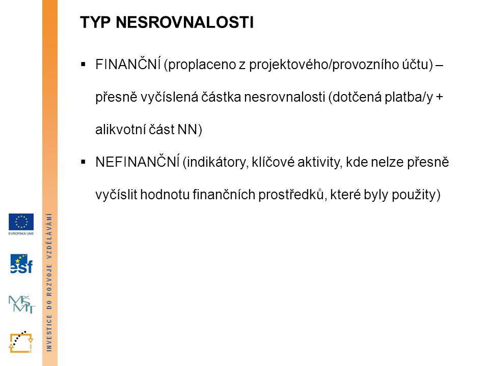 INVESTICE DO ROZVOJE VZDĚLÁVÁNÍ TYP NESROVNALOSTI  FINANČNÍ (proplaceno z projektového/provozního účtu) – přesně vyčíslená částka nesrovnalosti (dotč