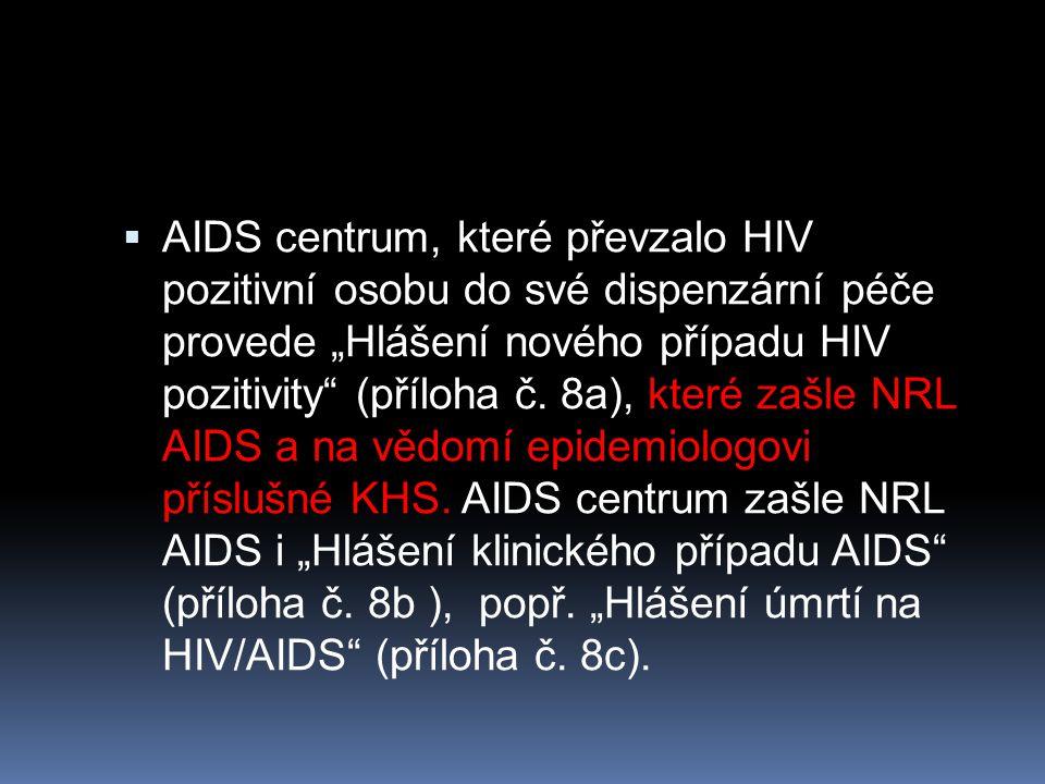 """ AIDS centrum, které převzalo HIV pozitivní osobu do své dispenzární péče provede """"Hlášení nového případu HIV pozitivity"""" (příloha č. 8a), které zašl"""
