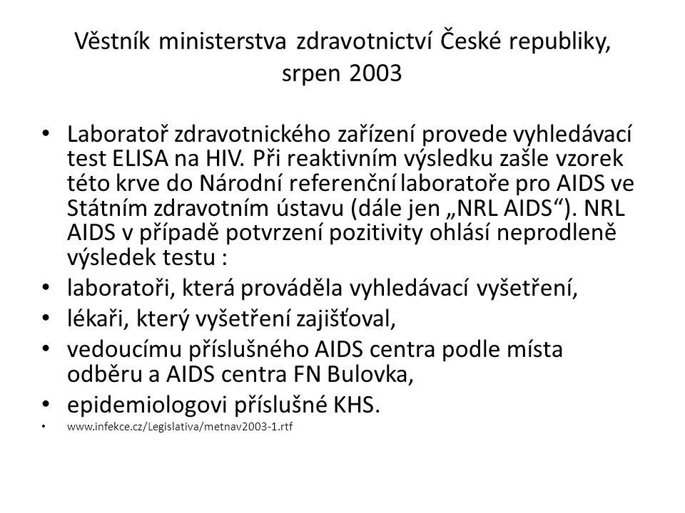 Věstník ministerstva zdravotnictví České republiky, srpen 2003 Laboratoř zdravotnického zařízení provede vyhledávací test ELISA na HIV. Při reaktivním