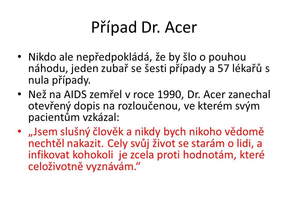 Případ Dr. Acer Nikdo ale nepředpokládá, že by šlo o pouhou náhodu, jeden zubař se šesti případy a 57 lékařů s nula případy. Než na AIDS zemřel v roce
