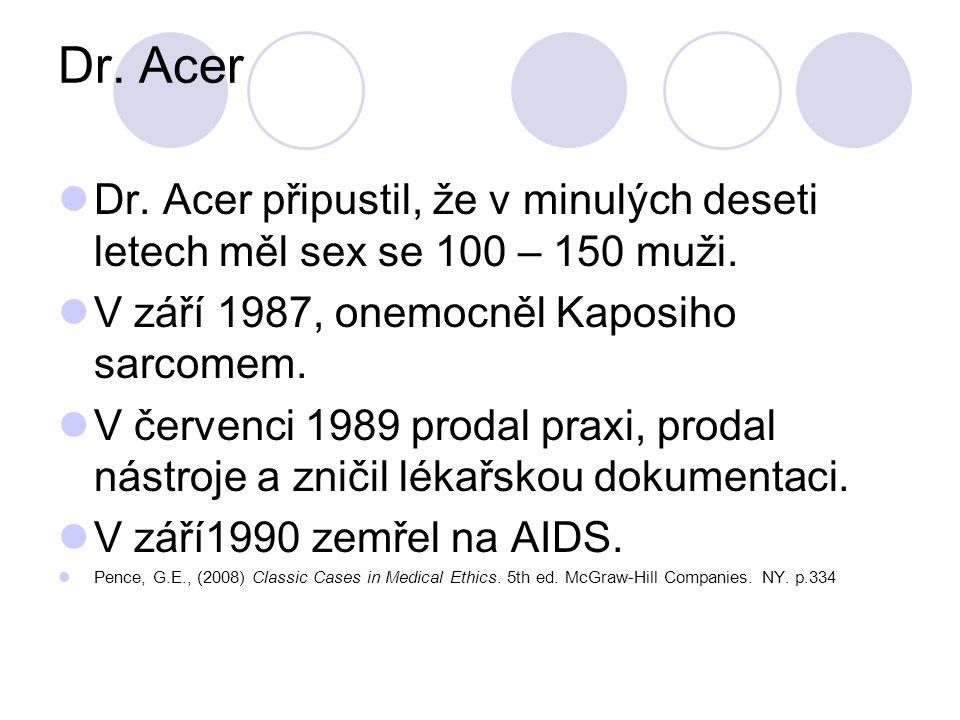 Dr. Acer Dr. Acer připustil, že v minulých deseti letech měl sex se 100 – 150 muži. V září 1987, onemocněl Kaposiho sarcomem. V červenci 1989 prodal p
