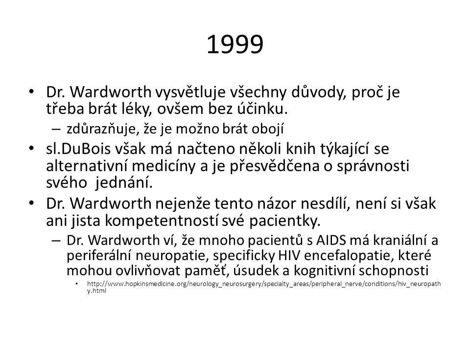 Dr. Wardworth vysvětluje všechny důvody, proč je třeba brát léky, ovšem bez účinku. – zdůrazňuje, že je možno brát obojí sl.DuBois však má načteno něk